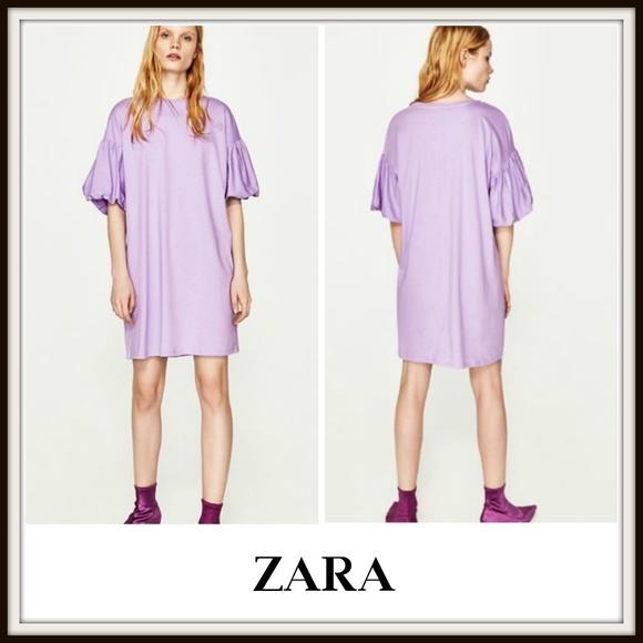 Zara Dresses & Skirts - Zara Lilac Puff Sleeve T-Shirt Oversized Dress